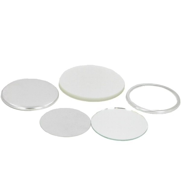 "2-3/8"" (2-1/4"" B.A.M.) Round Mirror Button Complete Set"